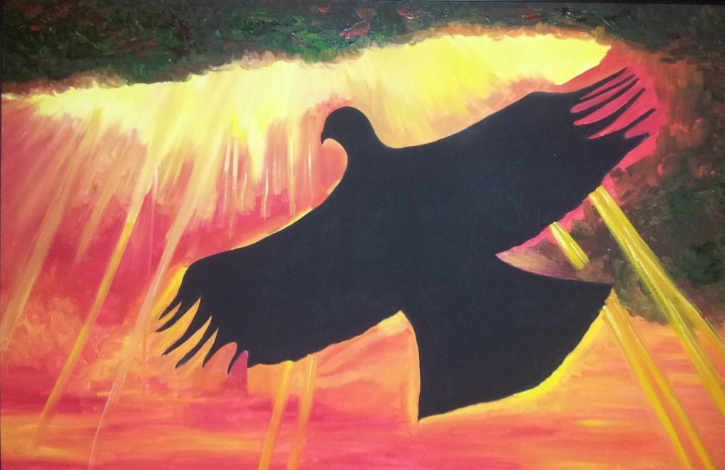 hawk and sun